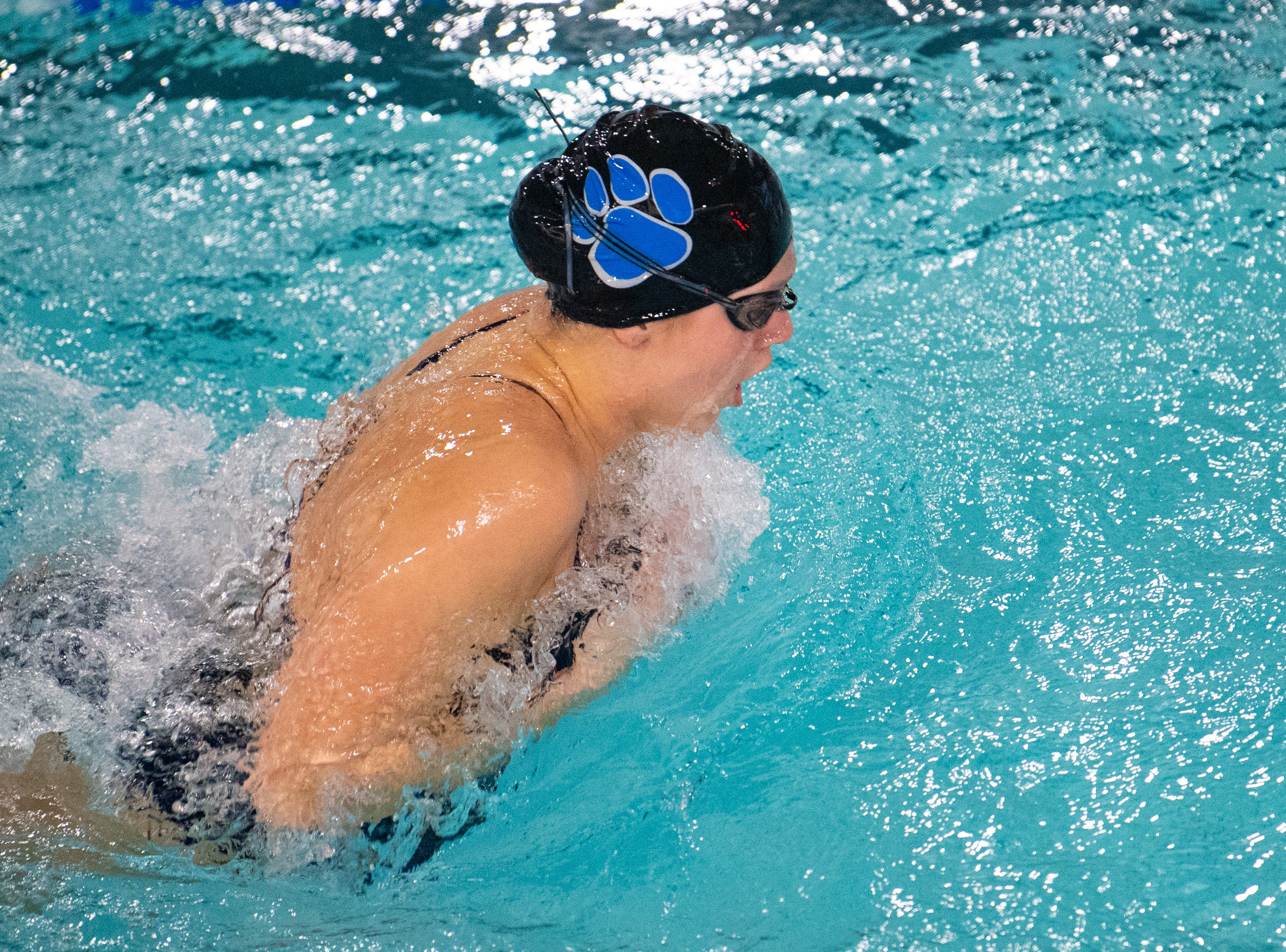 Araby Marston keeps a fast pace during the boys' and girls' swim meet between Dallastown and Central York at Dallastown Area High School, January 10, 2019. The Panthers defeated the Wildcats 93 to 77 and the Lady Panthers defeated the Lady Wildcats 96 to 74.