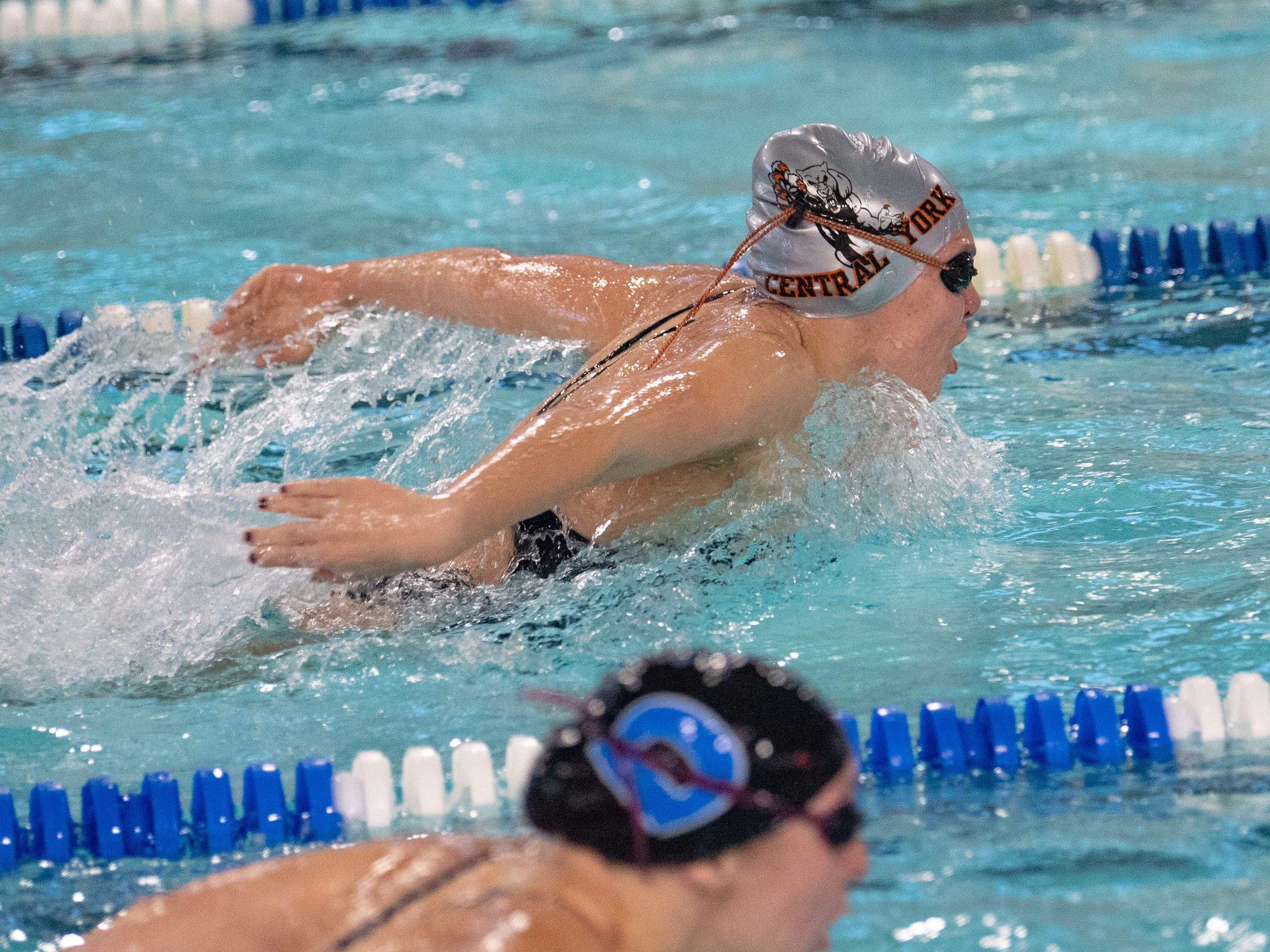 Micah Spoko leads the way in the 200 Yard IM during the boys' and girls' swim meet between Dallastown and Central York at Dallastown Area High School, January 10, 2019. The Panthers defeated the Wildcats 93 to 77 and the Lady Panthers defeated the Lady Wildcats 96 to 74.