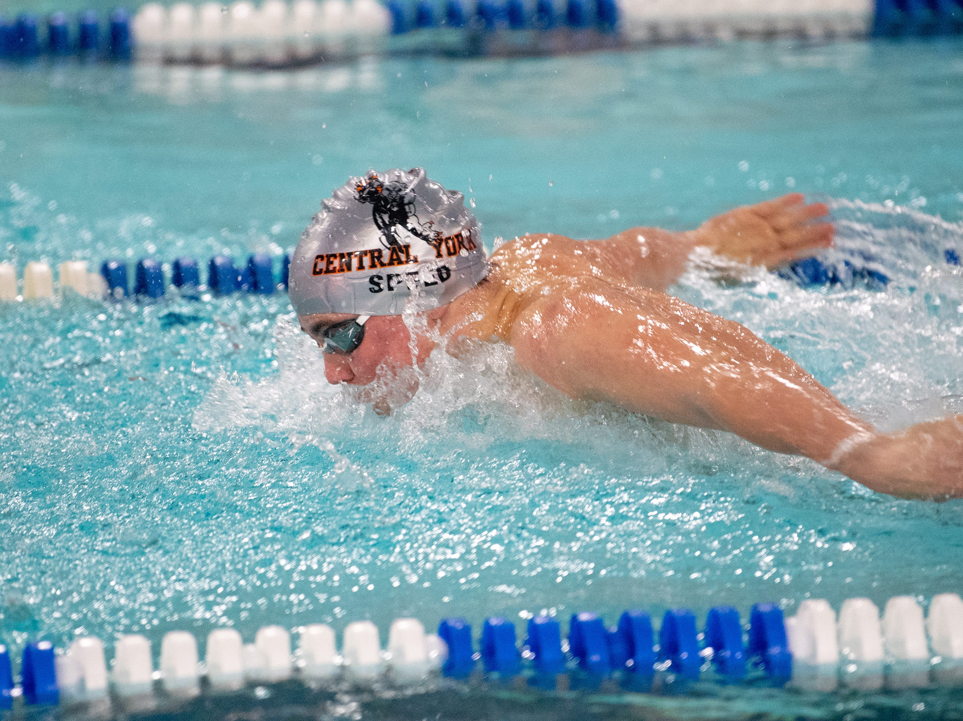 Cameron Speed is in the zone during the boys' and girls' swim meet between Dallastown and Central York, January 10, 2019. The Panthers defeated the Wildcats 93 to 77 and the Lady Panthers defeated the Lady Wildcats 96 to 74.