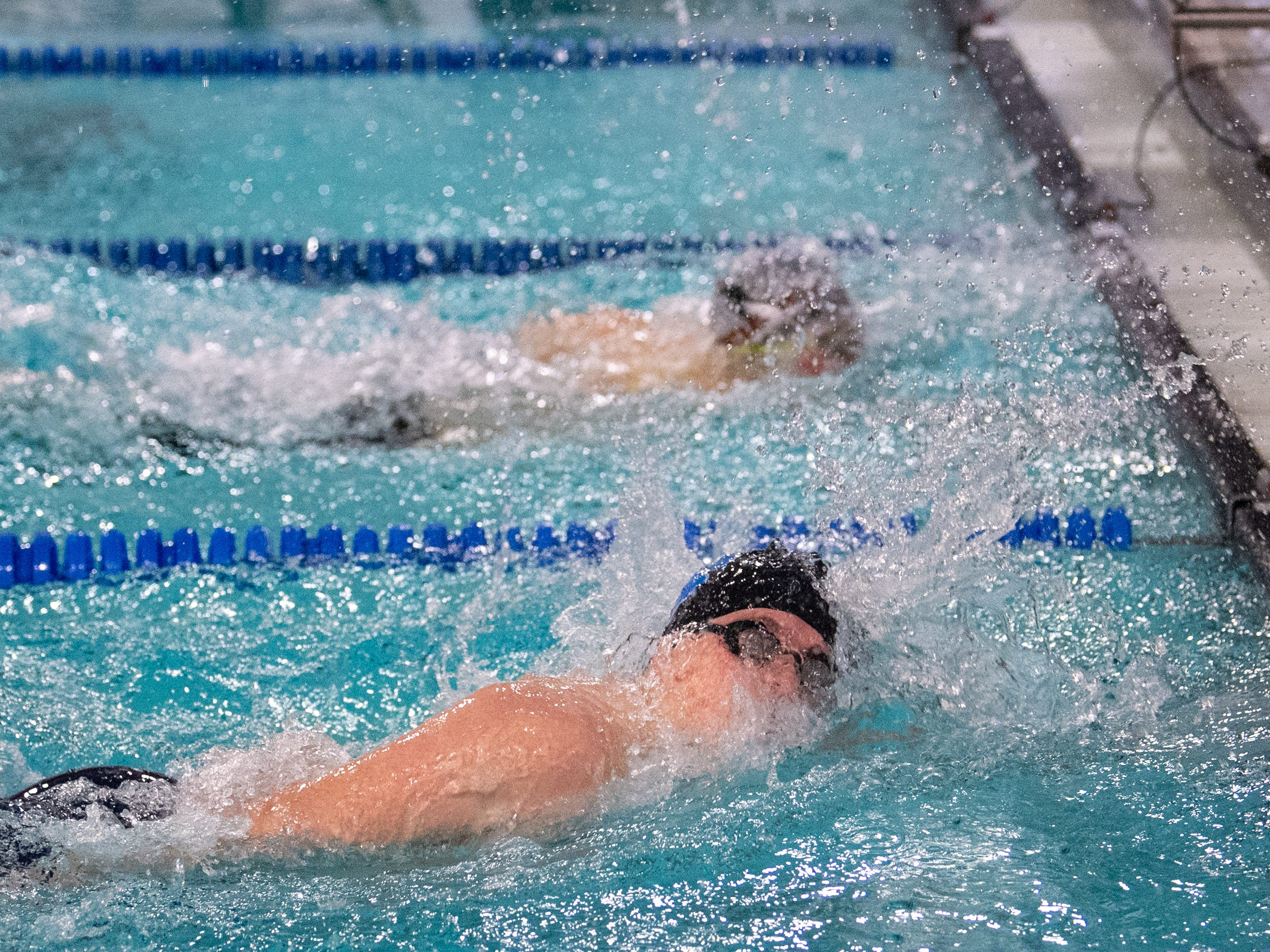 The end of the Boys 400 Yard Freestyle Relay is very close, but Central York ends up taking home the win during the boys' and girls' swim meet, January 10, 2019. The Panthers defeated the Wildcats 93 to 77 and the Lady Panthers defeated the Lady Wildcats 96 to 74.