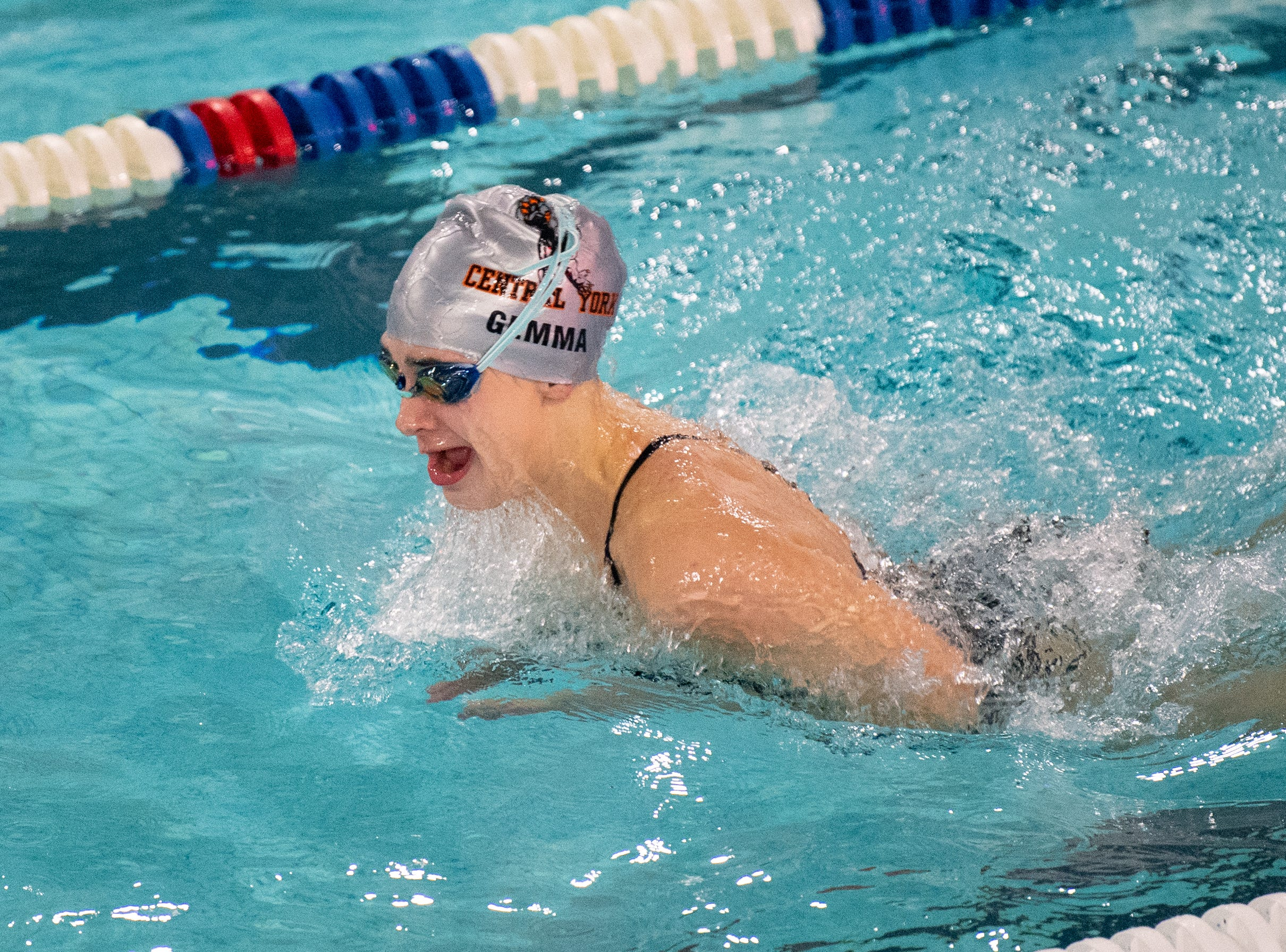 Ava Gemma does the breaststroke during the boys' and girls' swim meet between Dallastown and Central York at Dallastown Area High School, January 10, 2019. The Panthers defeated the Wildcats 93 to 77 and the Lady Panthers defeated the Lady Wildcats 96 to 74.