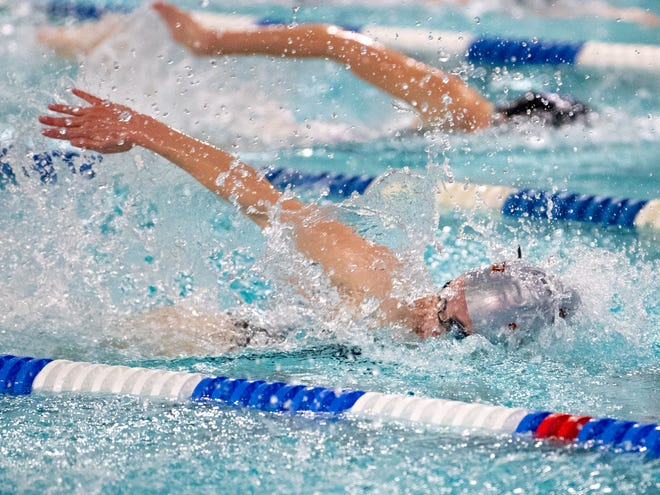 Central York slightly leads Dallastown in the Girls' 400 Yard Freestyle Relay during the boys' and girls' swim meet, January 10, 2019. The Panthers defeated the Wildcats 93 to 77 and the Lady Panthers defeated the Lady Wildcats 96 to 74.