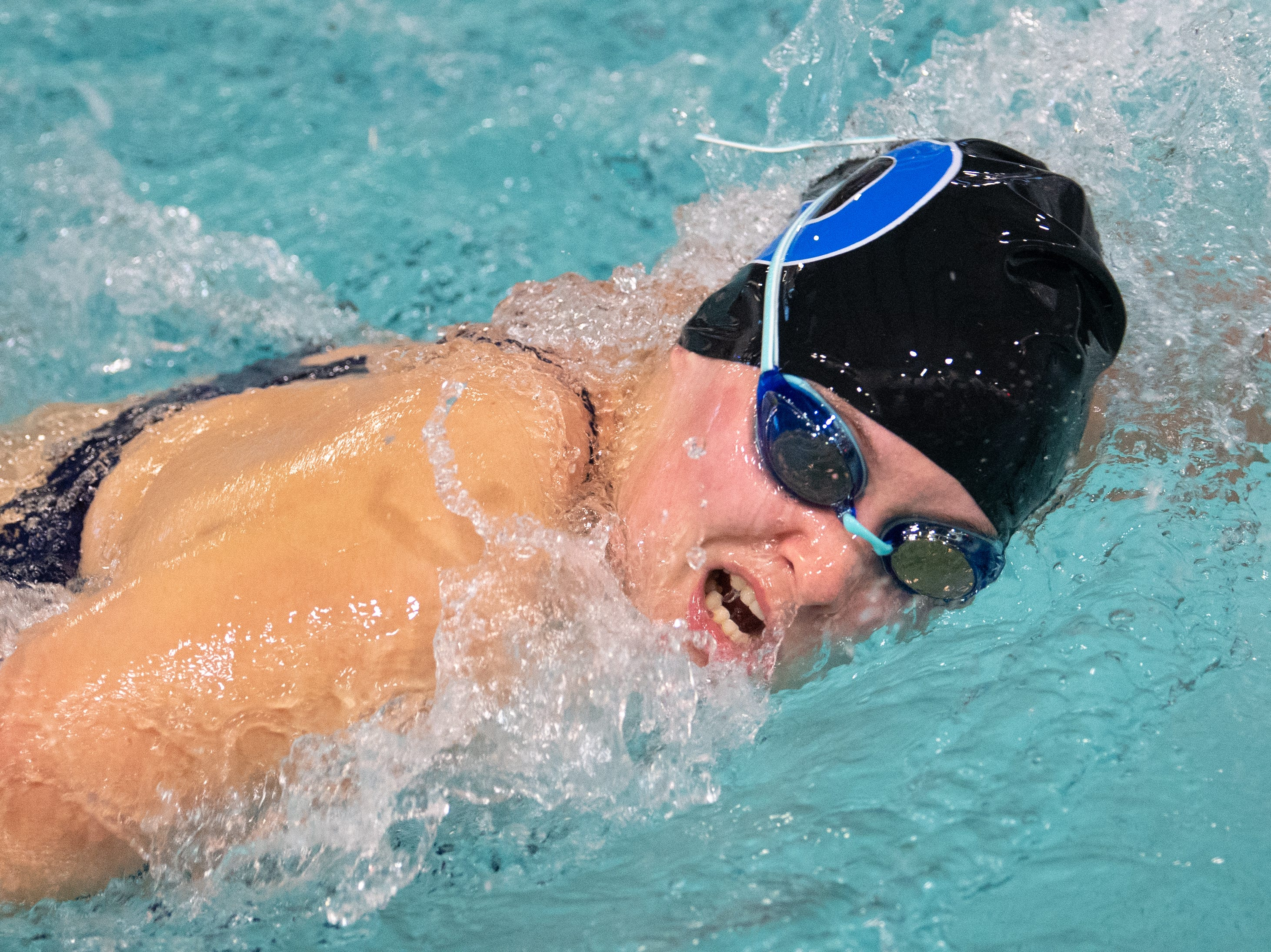 Dallastown's Gillian Lowe competes in the 200 Yard Freestyle during the boys' and girls' swim meet between Dallastown and Central York at Dallastown Area High School, January 10, 2019. The Panthers defeated the Wildcats 93 to 77 and the Lady Panthers defeated the Lady Wildcats 96 to 74.