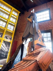 A cardboard statue of Jubal Early, a Confederate general during the American Civil War, stands inside Warehaus in downtown York, Thursday, Jan. 10, 2019. The statue was made by artist Wayne White, who had an exhibition at York College in 2014. Many of White's pieces from that exhibit now reside in the downtown architecture firm.