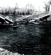 The bridge collapsed in the flood of 1955-56.