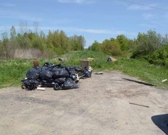 Illegal dump site on Klossen Road in the Tonawanda Wildlife Management Area.