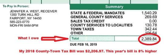 David Andreatta's 2019 Monroe County-Town Tax Bill is 8 percent higher than 2018.