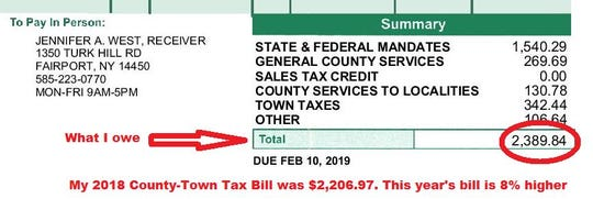 David Andreatta's 2019 Monroe County-Town Tax Bill is 8 percent higher than 2018.