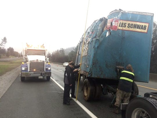 The California Highway Patrol's Redding Explorers helped the CHP's Northern Division Commercial Enforcement Unit with a post-collision inspection Thursday after a Les Schwab tire truck overturned on Interstate 5 north of Redding. An Explorer aided in measuring the height of the truck and trailer combination. The driver had fallen asleep and traveled off the roadway, the CHP said on its Facebook page.