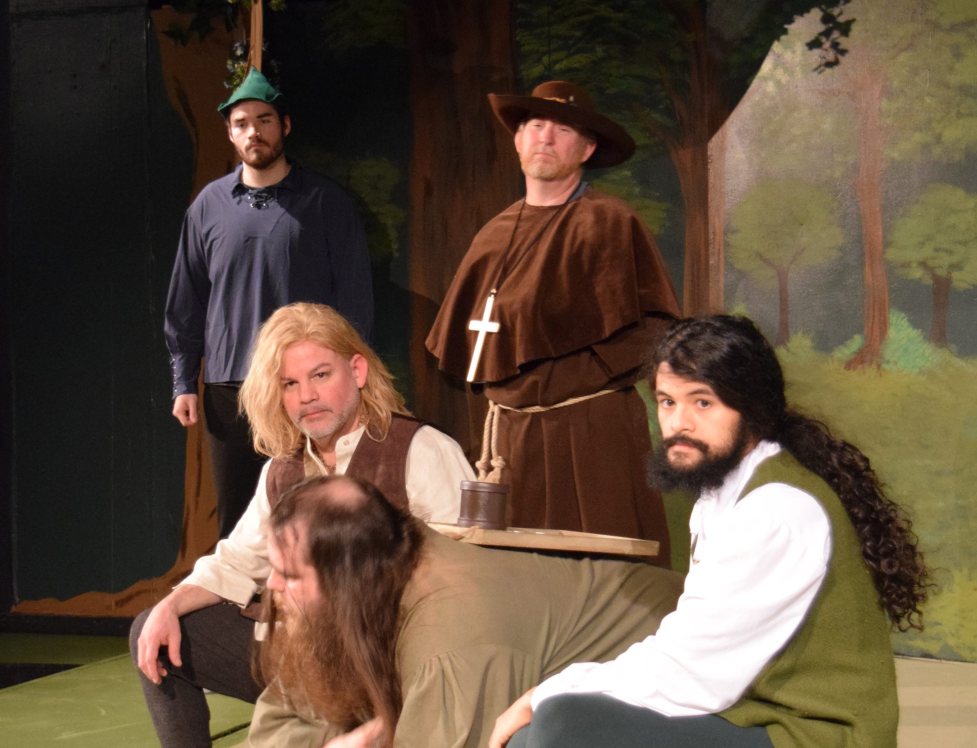 """Robin Hood (Isaac Hines), left, and his Merry Men in a scene from """"The Somewhat True Tale of Robin Hood."""" The comedy opens Friday at Riverfront Playhouse."""