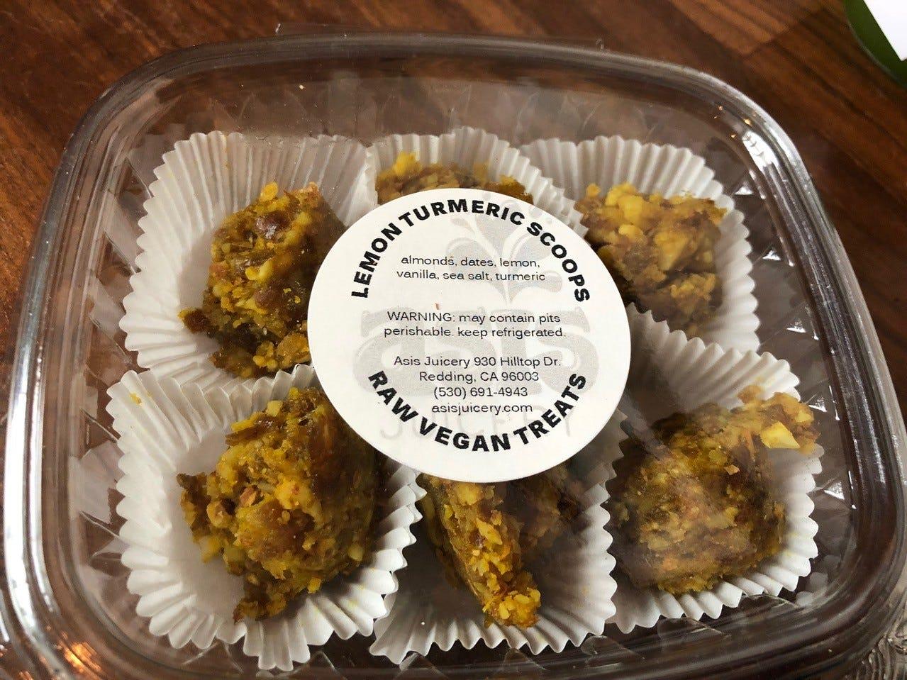 Lemon turmeric scoops at Asis Juicery.
