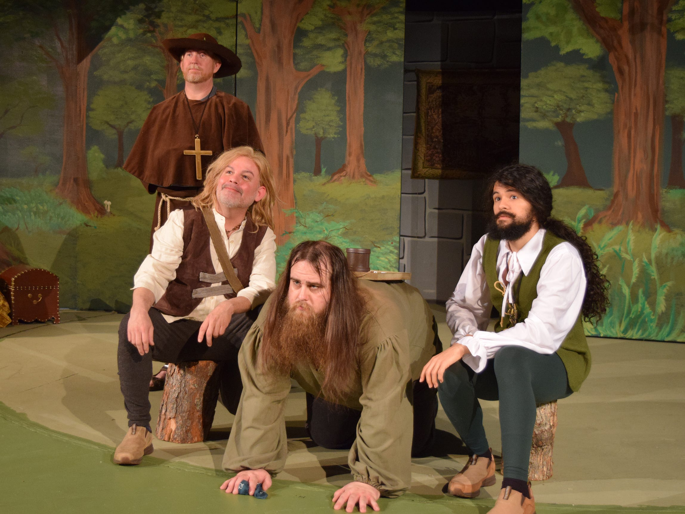 """Robin Hood's Merry Men contemplate justice in a scene from """"The Somewhat True Tale of Robin Hood."""" The comedy opens Friday at Riverfront Playhouse."""