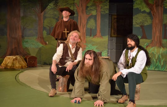 "Robin Hood's Merry Men contemplate justice in a scene from ""The Somewhat True Tale of Robin Hood."" The comedy opens Friday at Riverfront Playhouse."