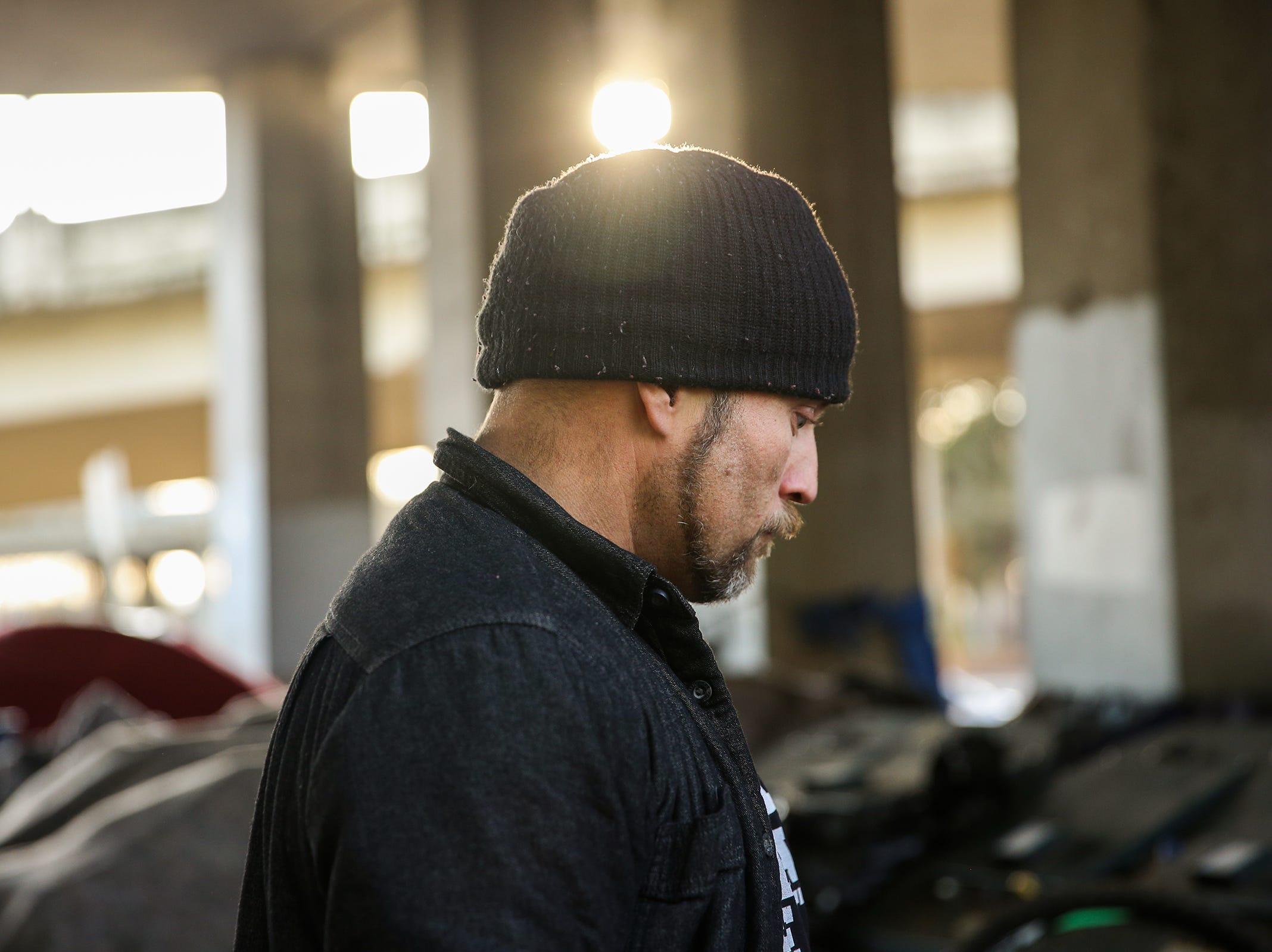 Virgil Simons, 36, at Marion Square Park under the Marion St. Bridge on Front St. NE in Salem on Thursday, Jan. 10, 2019. Simmons has been homeless in Salem for 23 years.