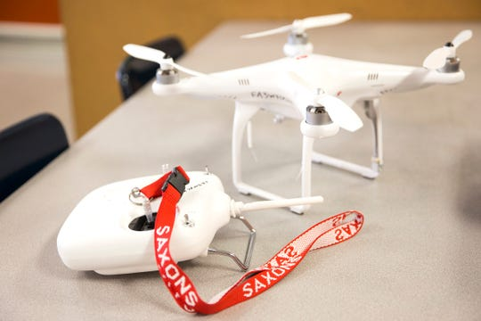 The drone South Salem High School juniors will use to test for algae is pictured on Friday, Jan. 11, 2019. The STEM students were chosen to represent Oregon in a Samsung competition.