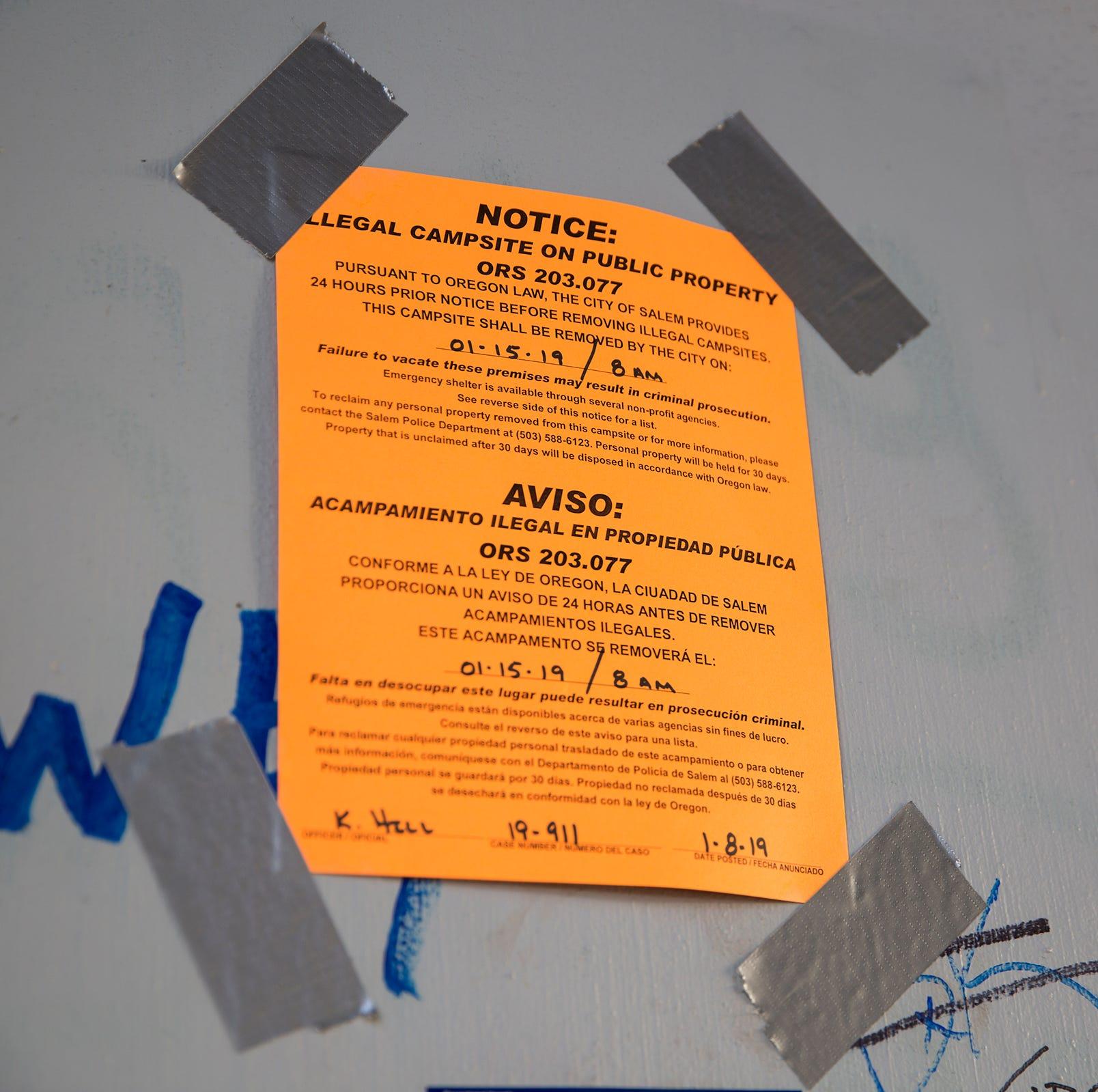 Salem police clear homeless camp under Marion Street bridge; barriers go up Wednesday