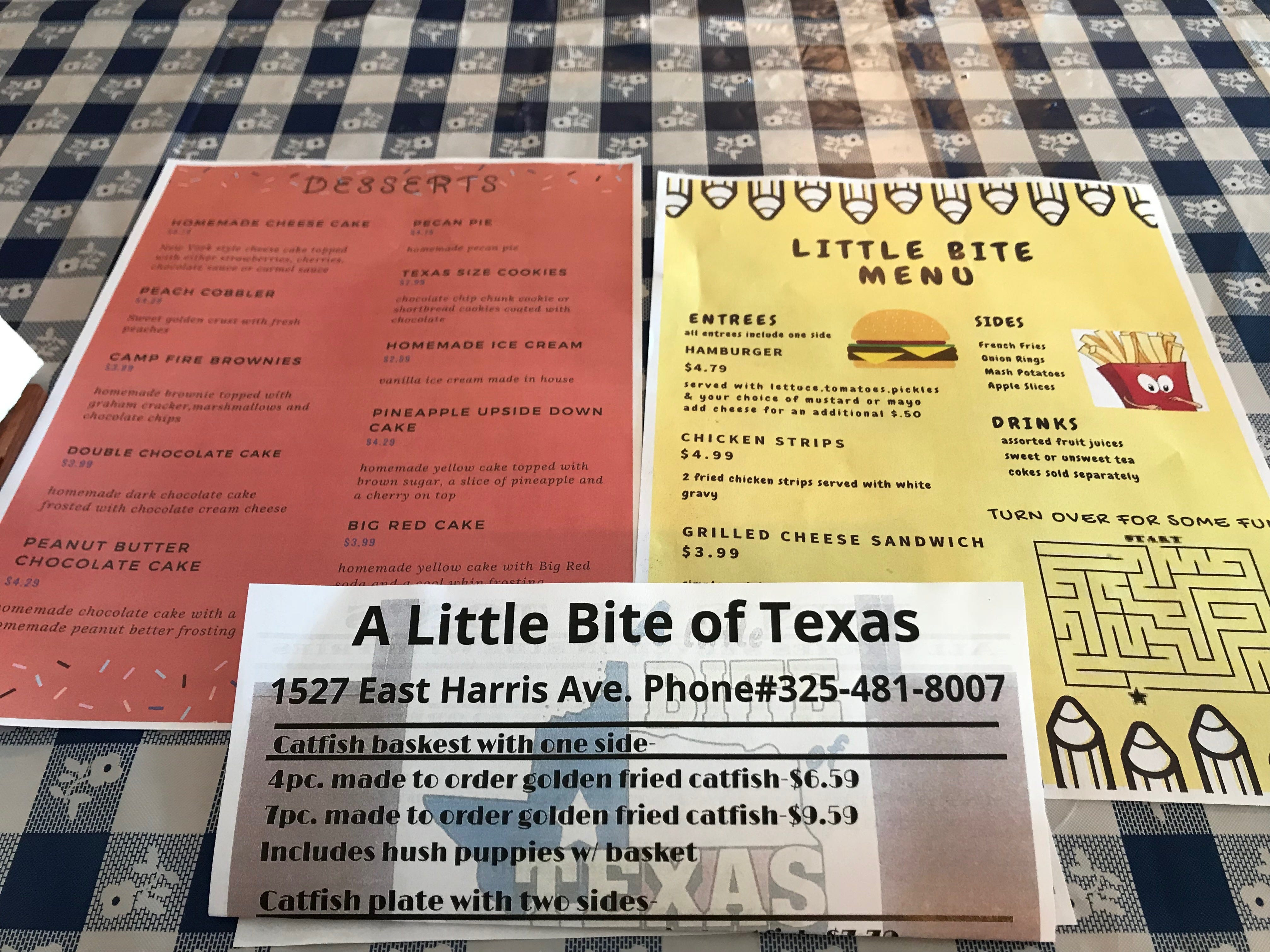 The menus from A Little Bite of Texas,1527 East Harris Ave., offer an array of southern favorites.