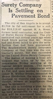 "In 1919, a settlement was reached to recoup some of the money invested in a wood-block paving system, which ""failed to give the satisfaction that had been guaranteed.'"