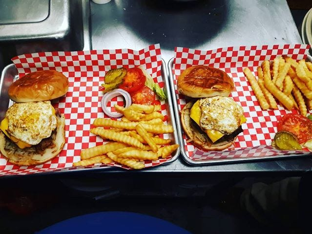 The Rise and Shine burger from A Little Bite of Texas,1527 East Harris Ave., is the chef's favorite. It has hash browns, bacon and egg.