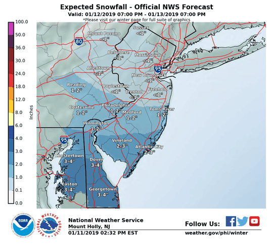 National Weather Service graphics that estimate snowfall as of Friday 4 p.m.