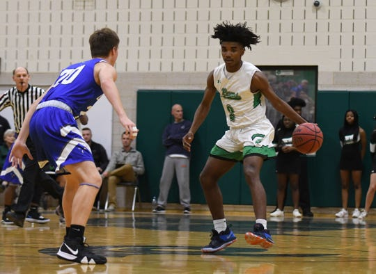 Parkside's Tawain Hardy with the ball against Stephen Decatur on Thursday, Jan. 10, 2019.