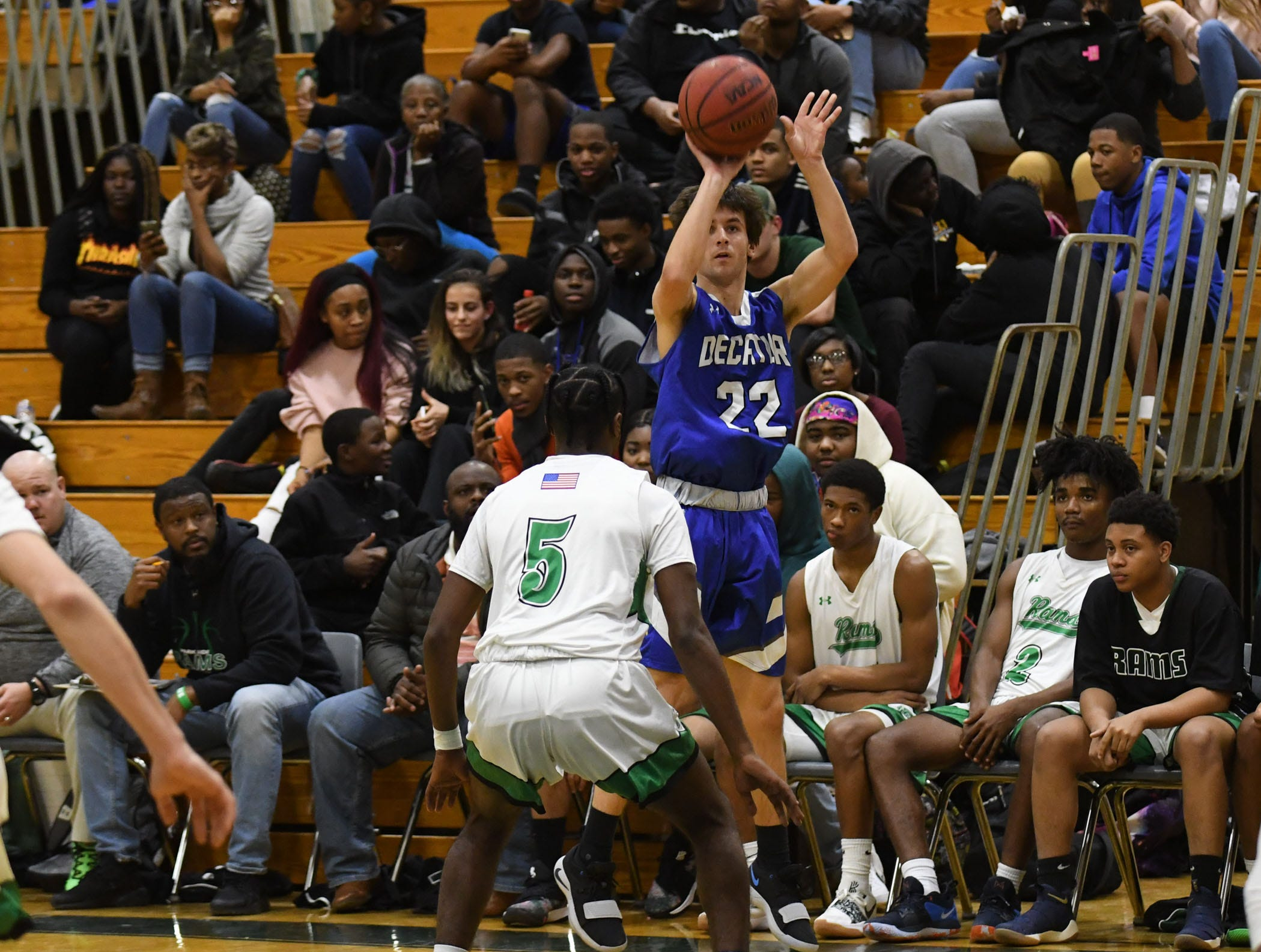 Stephen Decatur's Brett Berquest with the shot against Parkside on Thursday, Jan. 10, 2019.