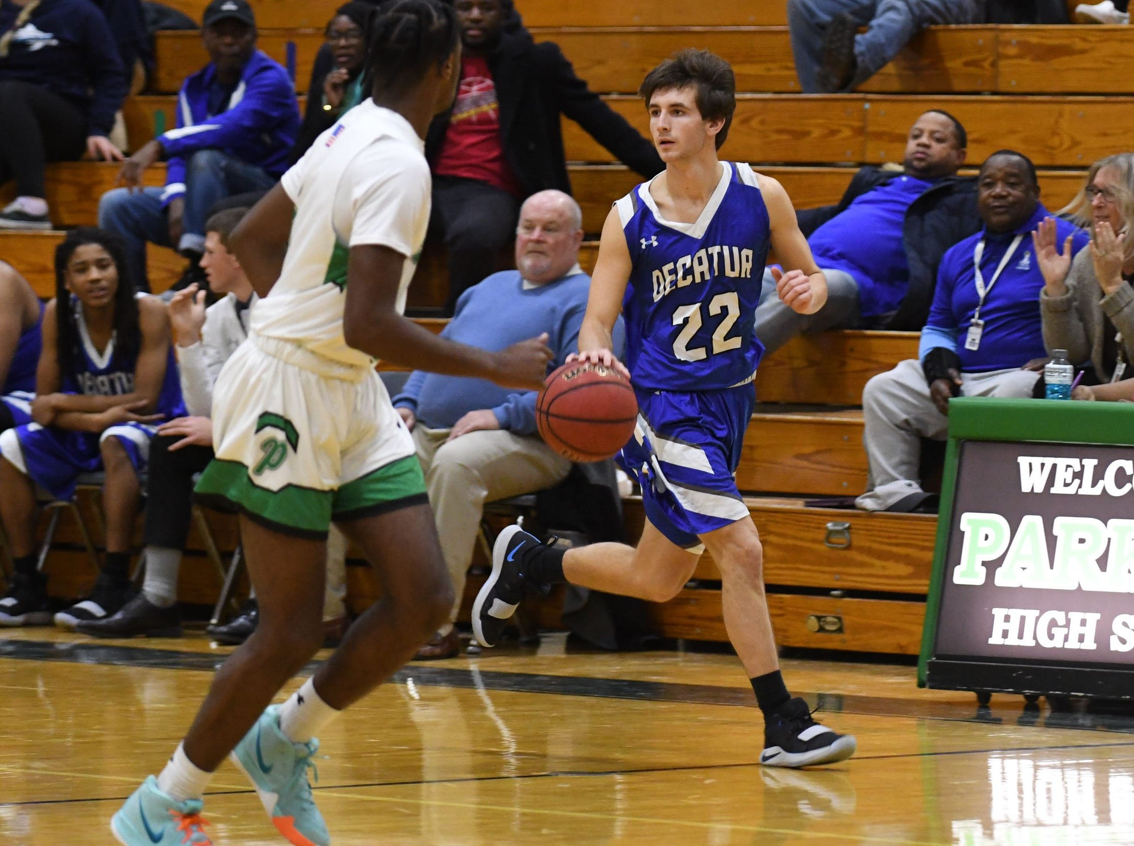 Stephen Decatur's Brett Berquest with the ball against Parkside on Thursday, Jan. 10, 2019.