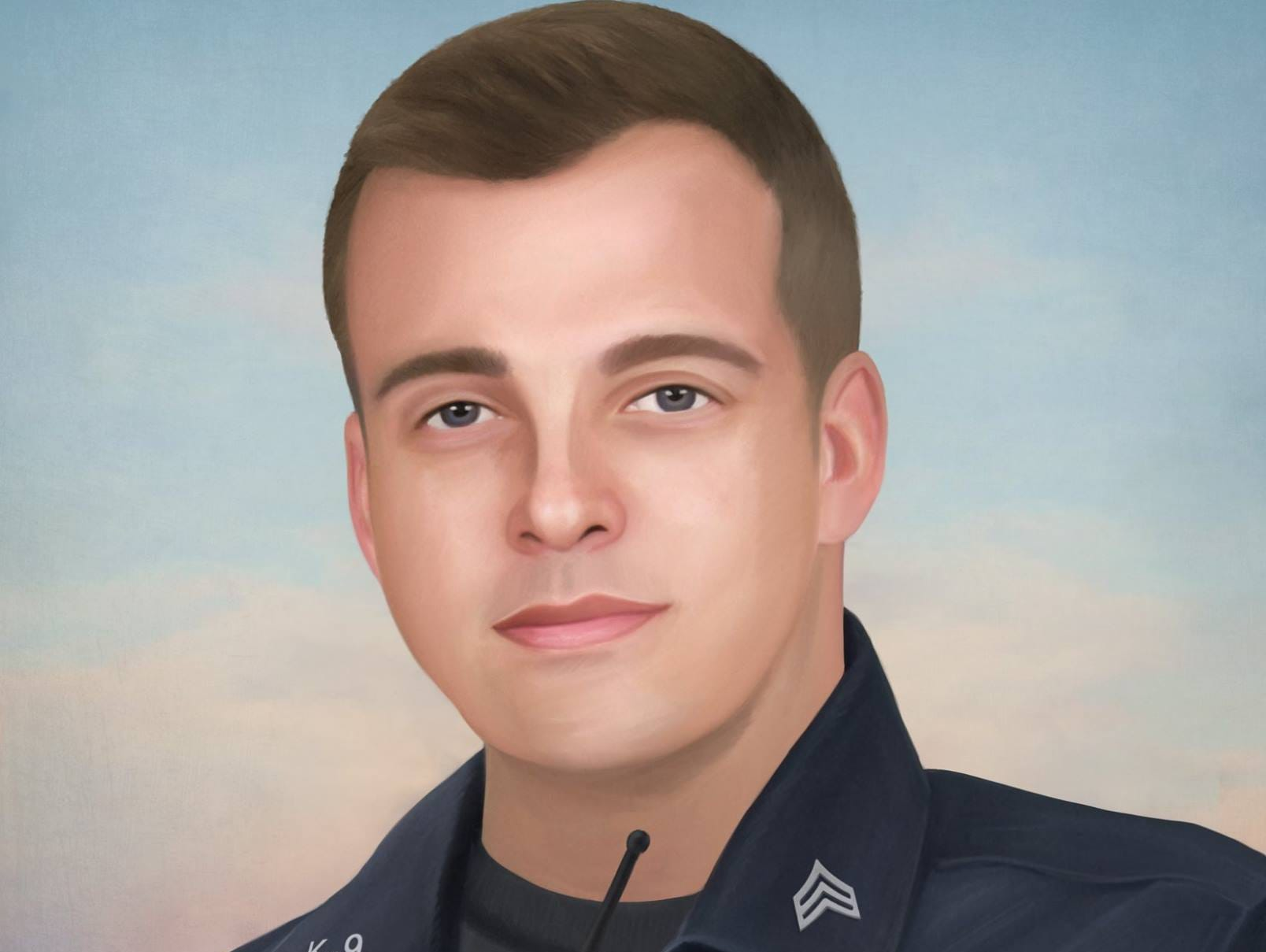 On December 12th, Charlestown (Indiana) Police Sergeant Benton Bertram attempted to pull over a stolen vehicle when the driver took off. During the pursuit, Ben lost control of his patrol vehicle and struck a tree. Several officers responded and tried to render aid but Sergeant Bertram's injuries were too severe and he died at the scene. Painting by Jonny Castro Art