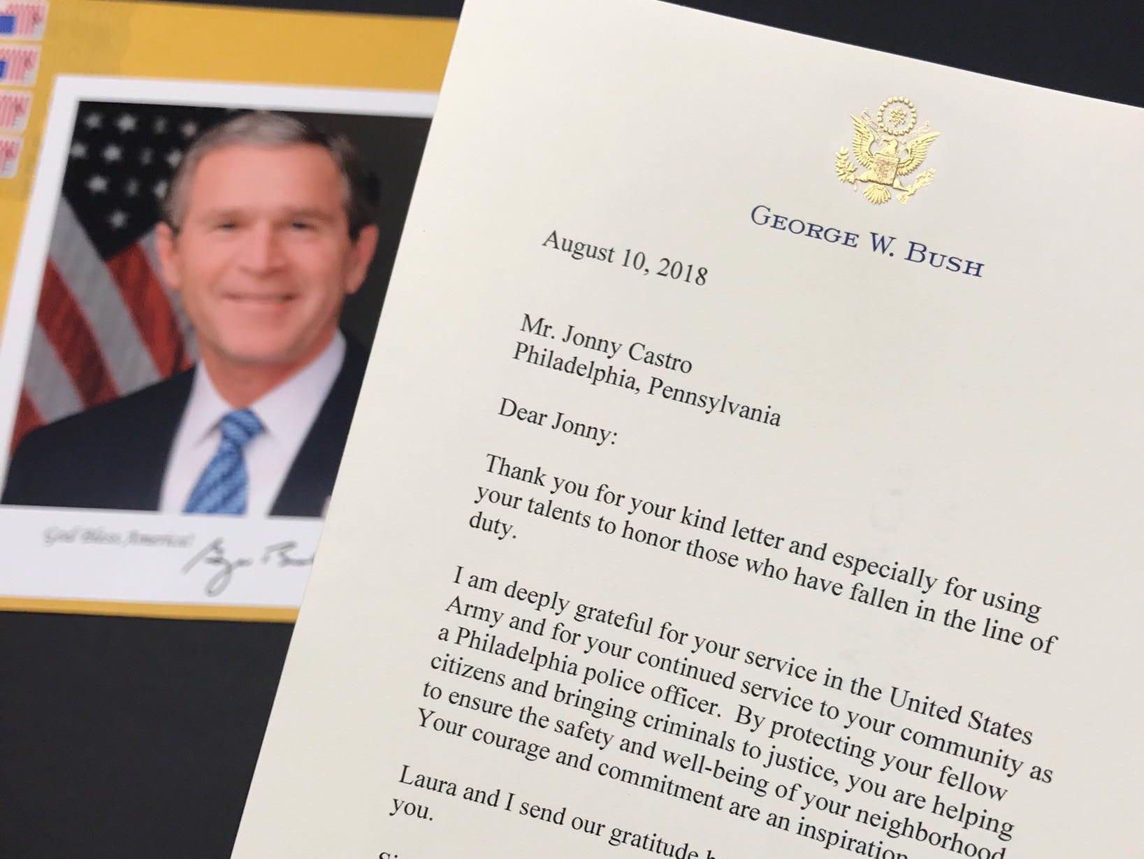 Jonny Castro's letter from George Bush.