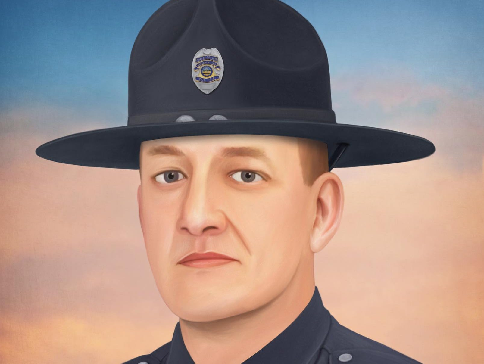 On January 4th, Colerain Township (Ohio) Police Officer Dale Woods was moving traffic control devices on the scene of a previous auto accident when he was struck by an oncoming pickup truck. Dale was transported to the hospital where he fought for 3 days before eventually succumbing to his injuries. Painting by Jonny Castro Art