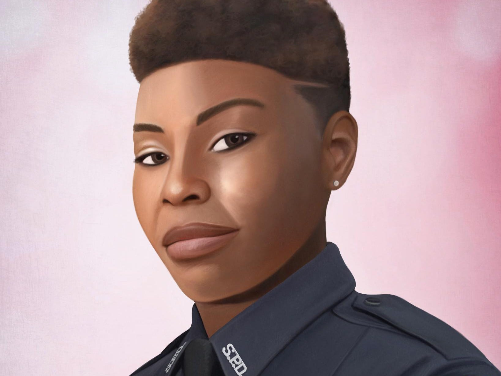 This is a portrait of Shreveport Louisiana Police Officer Chateri Payne.Painting by Jonny Castro Art
