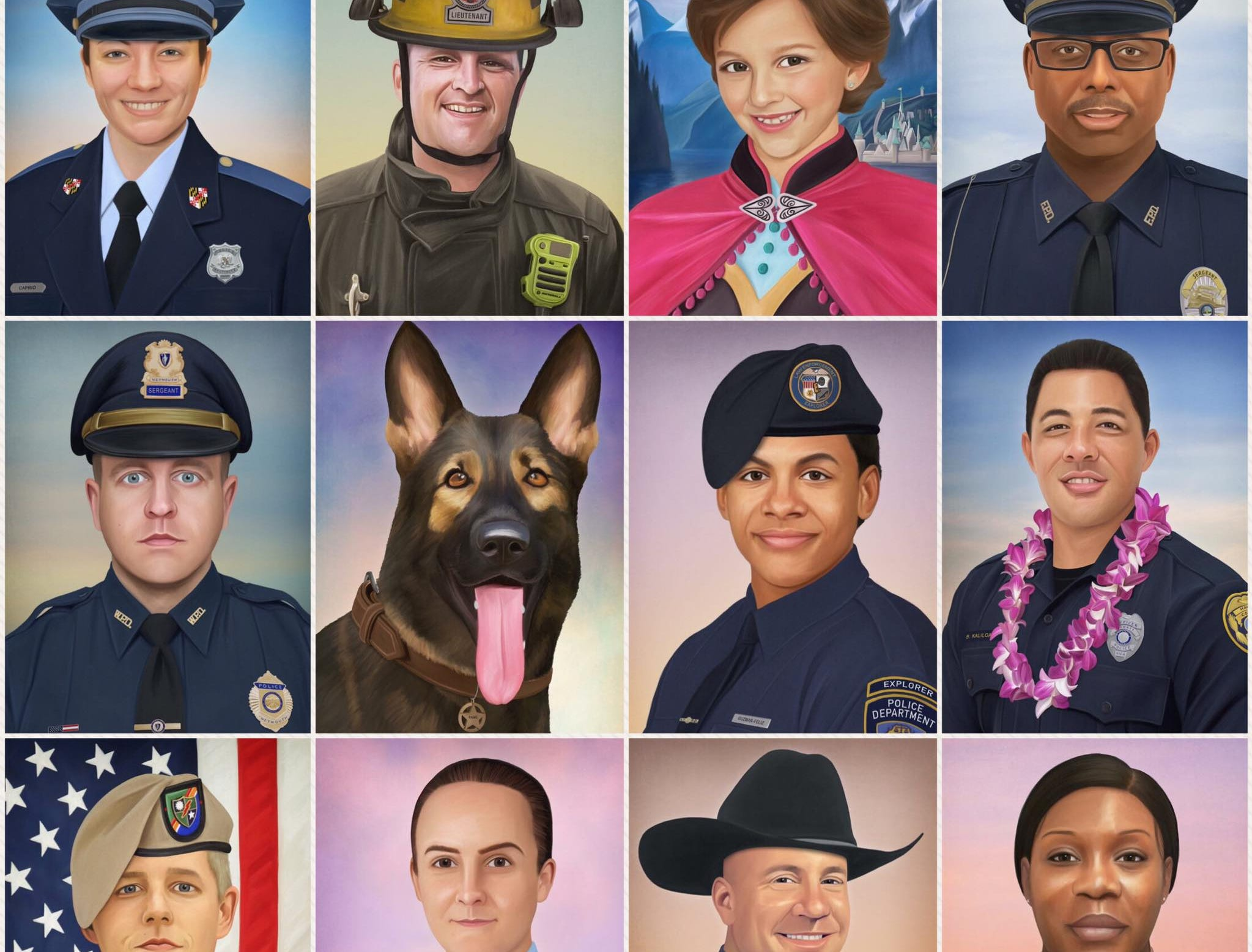 """12 of the 131 portraits that I've painted so far in 2018. Fallen officers, K9s and firefighters. Service members killed in action. Victims of crime and children who've lost their battle with cancer. "" - Jonny Castro"