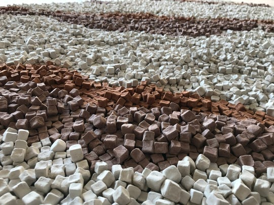Clay cubes created by ceramics artist Danielle Weigandt.