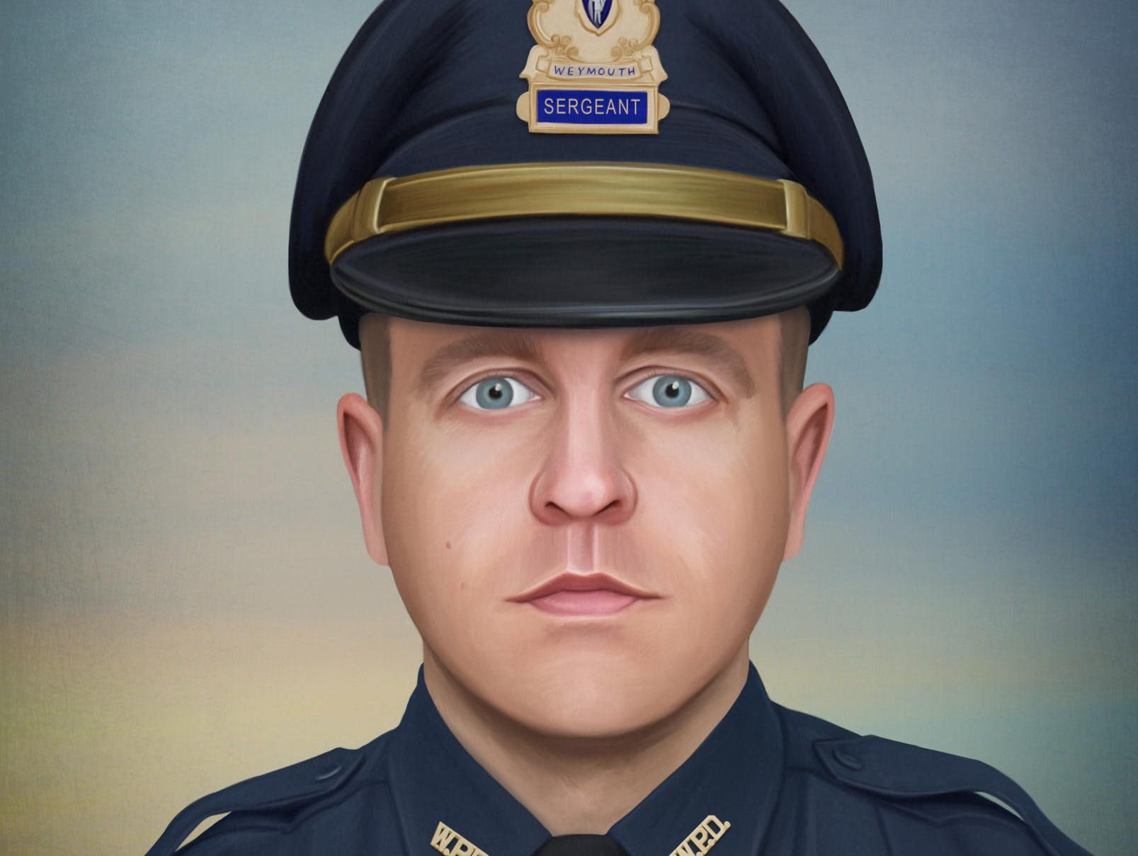 On July 15th, Weymouth (Massachusetts) Police Officer Michael Chesna, who was just finishing up his midnight to 8am tour of duty, confronted a suspect wanted for leaving the scene of an accident. The male violently assaulted Michael with a large rock, knocking him to the ground. The suspect disarmed Officer Chesna of his service weapon and murdered him.Painting by Jonny Castro Art