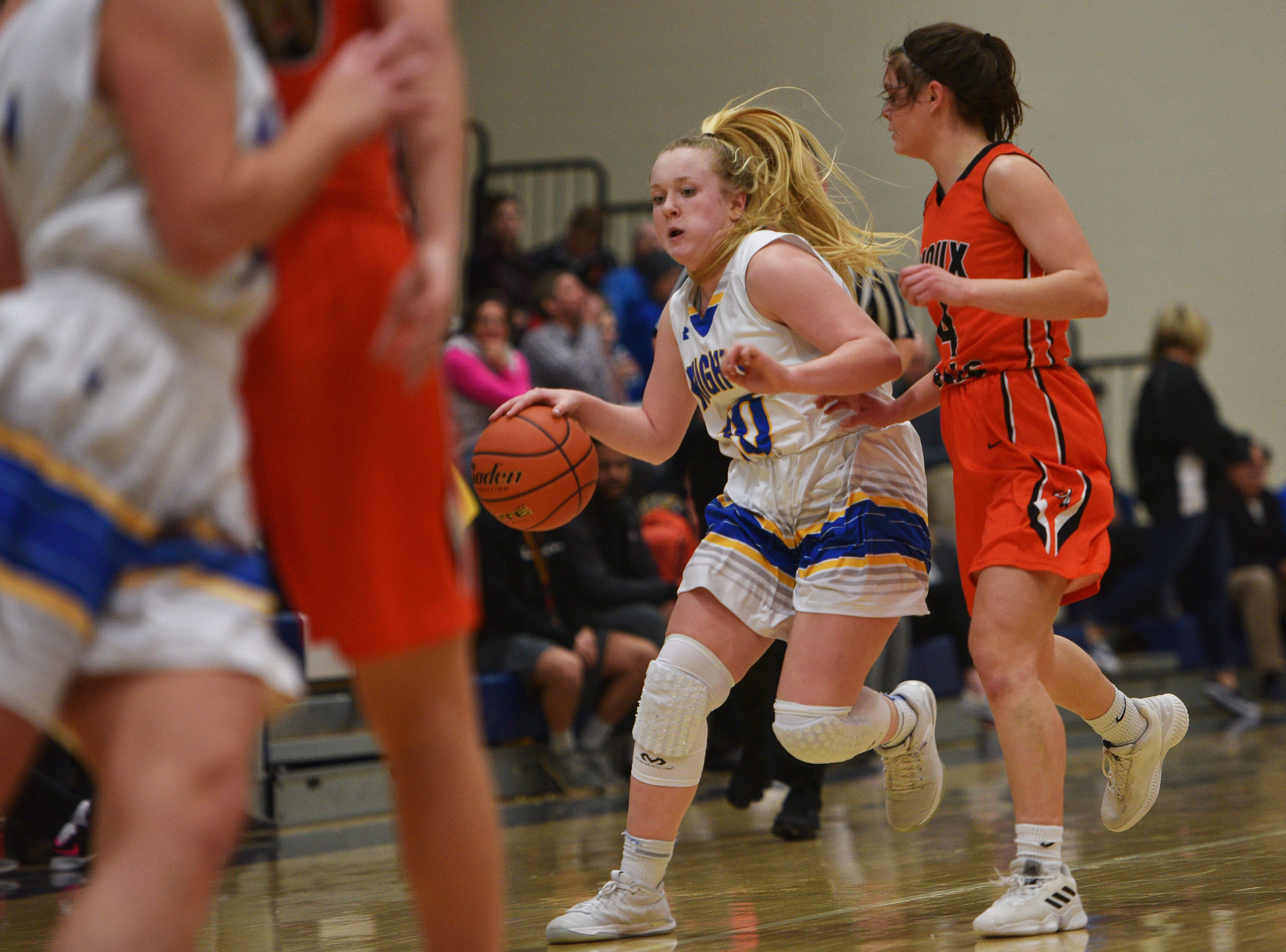 O'Gorman's Carly Kunkel goes against Washington defense during the game Thursday, Jan. 10, at O'Gorman in Sioux Falls.