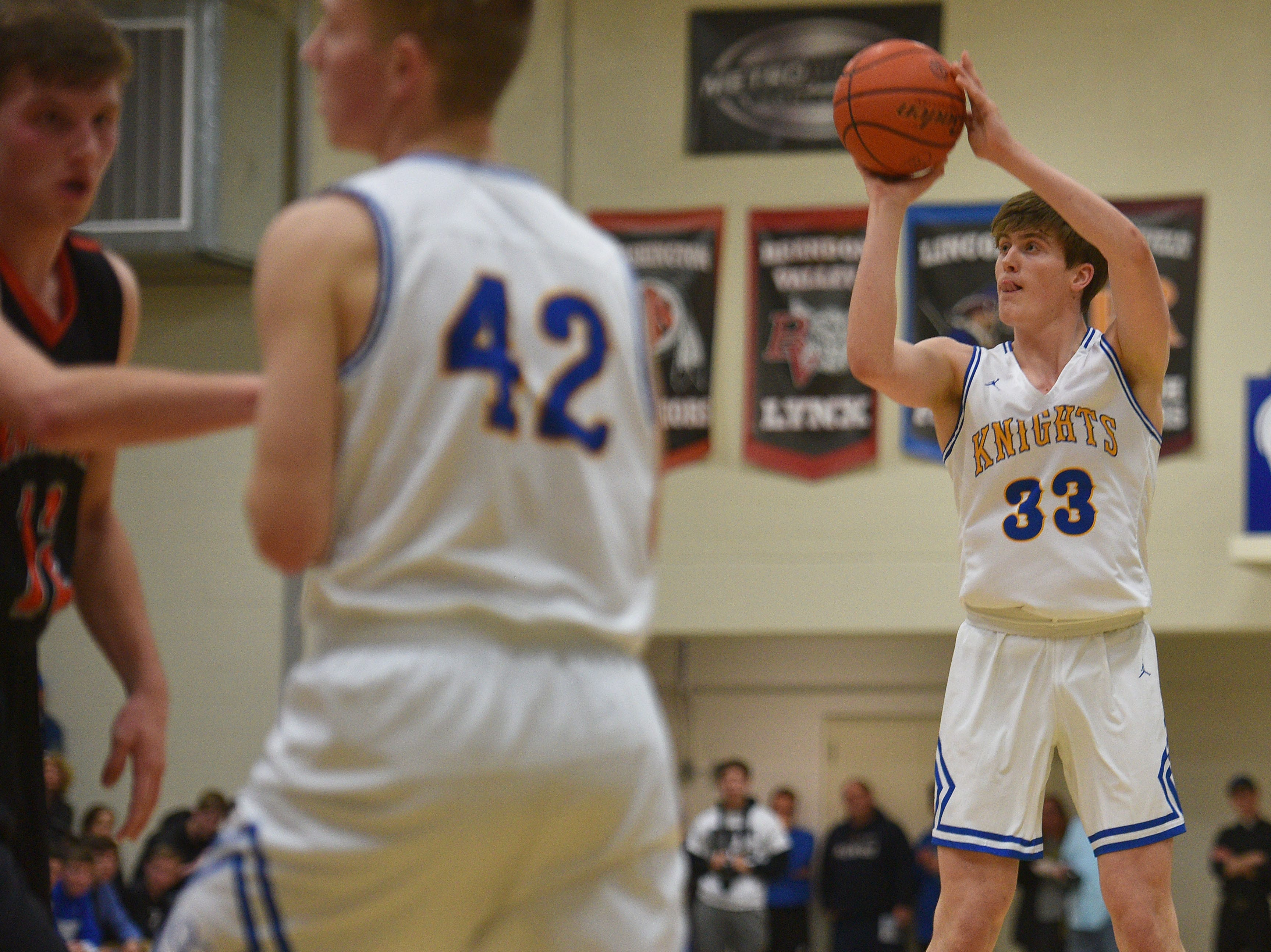 O'Gorman's Cole Bruhn attempts to score against Washington during the game Thursday, Jan. 10, at O'Gorman in Sioux Falls.