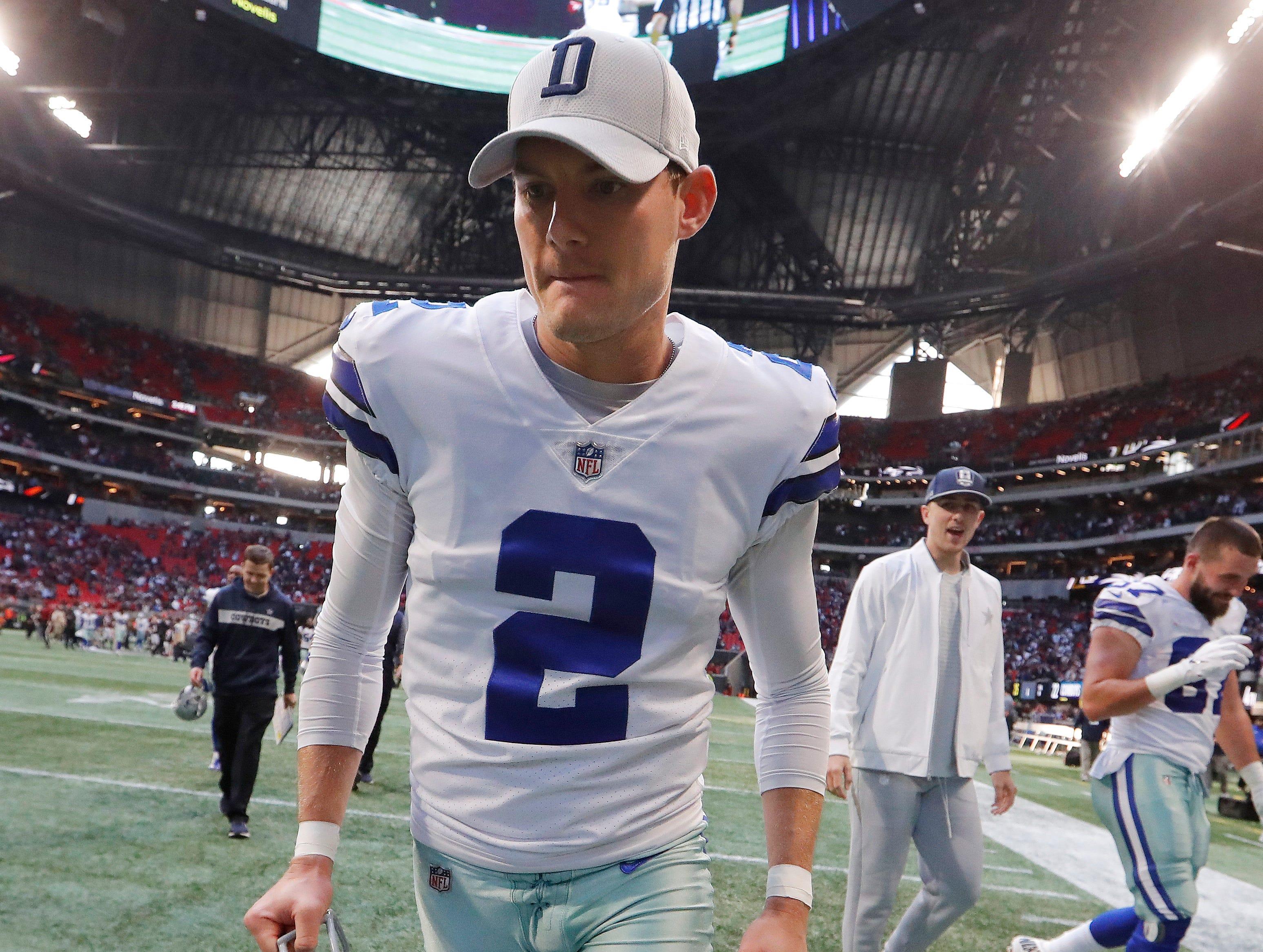 Dallas Cowboys kicker Brett Maher (2) leaves the field after an NFL football game against the Atlanta Falcons, Sunday, Nov. 18, 2018, in Atlanta. The Dallas Cowboys won 22-19. (AP Photo/John Bazemore)