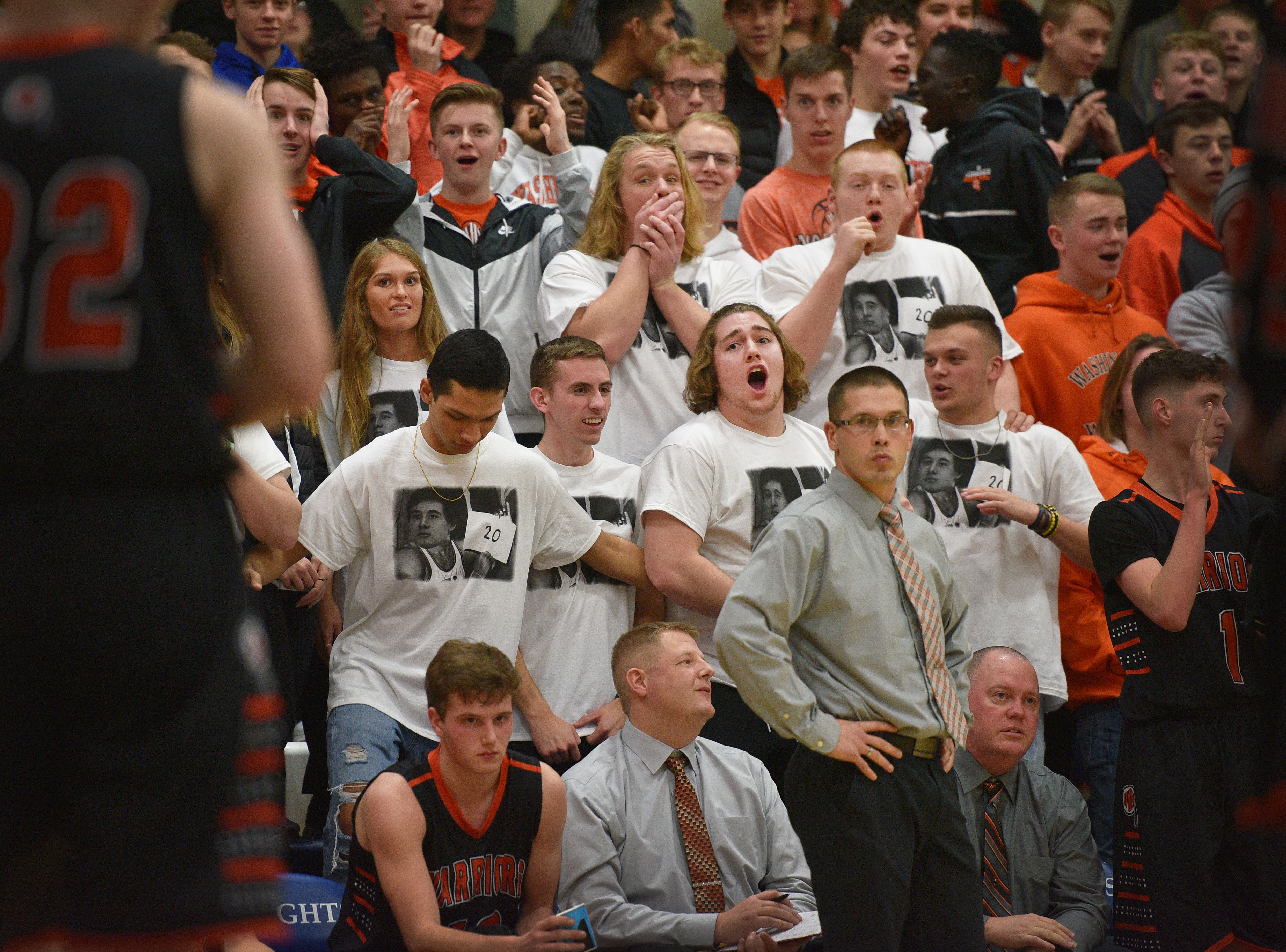 Washington's student section reacts after Ganin Thompson swats the ball from an O'Gorman player during the game Thursday, Jan. 10, at O'Gorman in Sioux Falls.