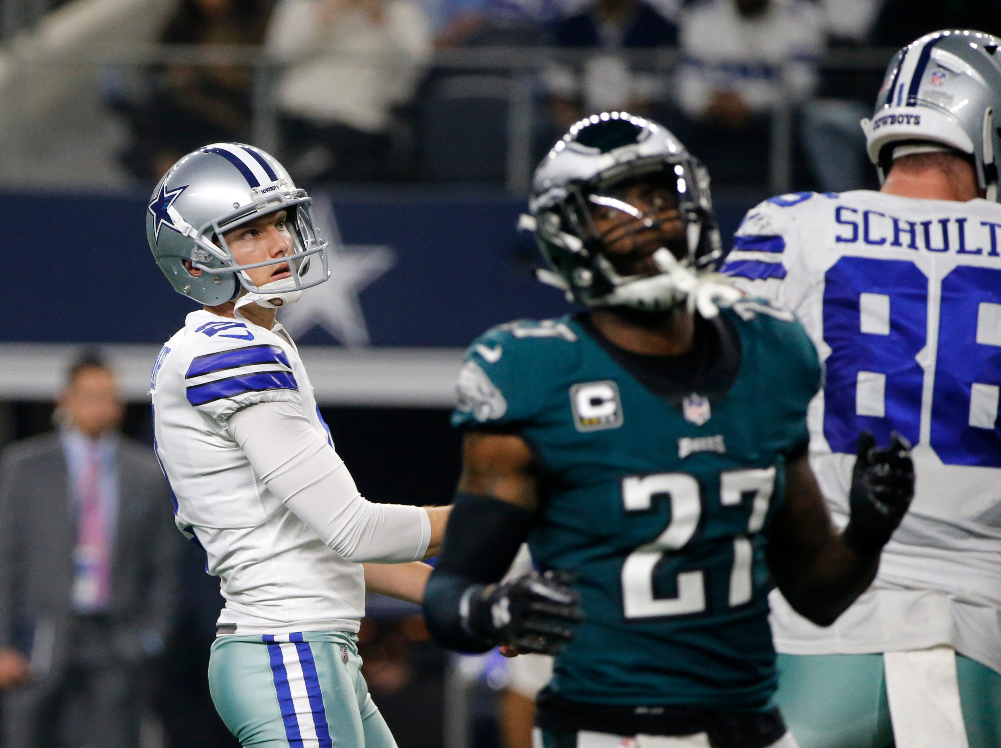 Dallas Cowboys' Brett Maher (2) watches his field goal attempt as Philadelphia Eagles' Malcolm Jenkins (27) walks away in the second half of an NFL football game in Arlington, Texas, Sunday, Dec. 9, 2018. (AP Photo/Michael Ainsworth)