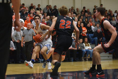 O'Gorman's Cole Hardie goes against Washington defense during the game Thursday, Jan. 10, at O'Gorman in Sioux Falls.