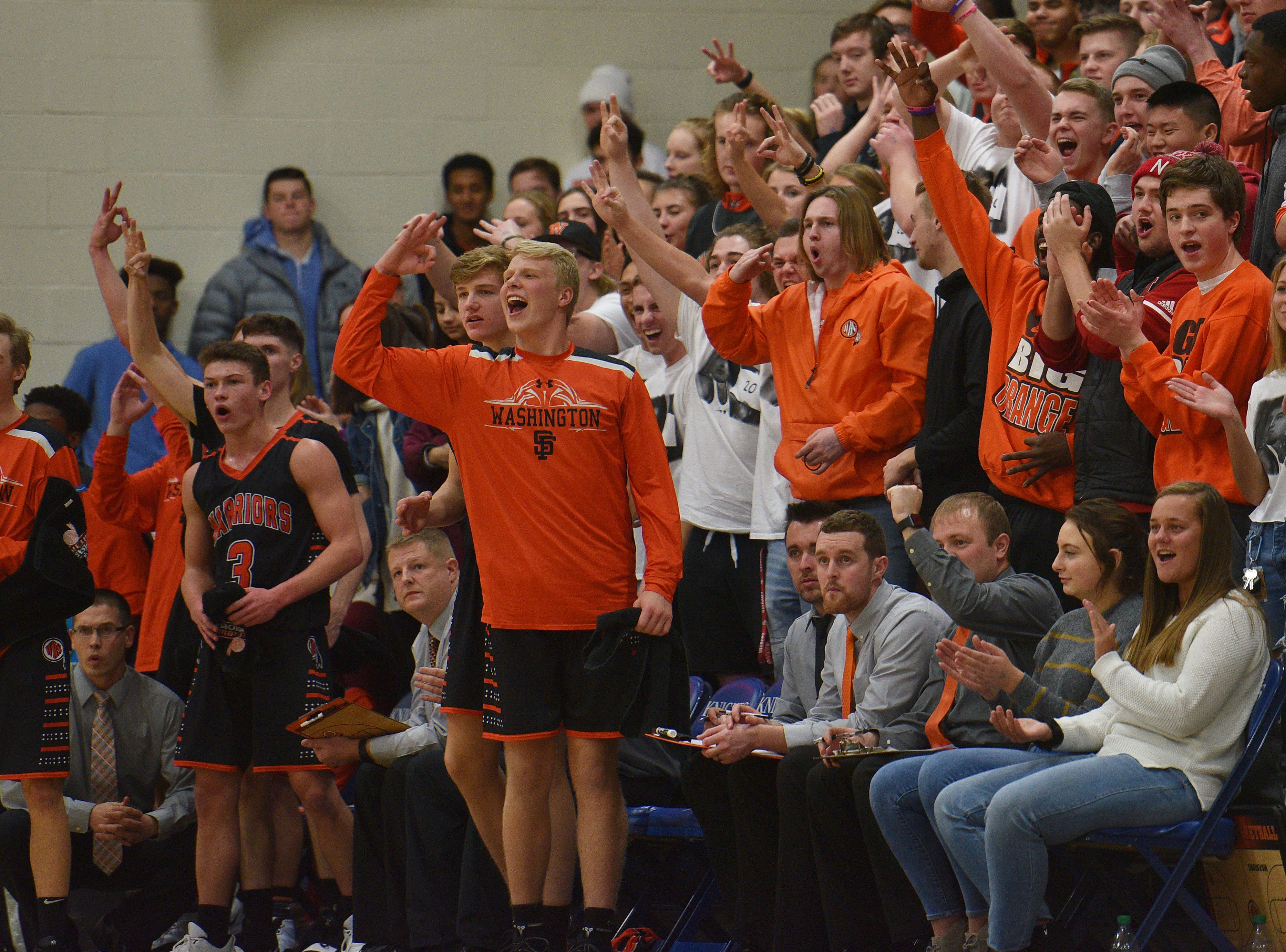 Washington's student section cheers during the game against O'Gorman Thursday, Jan. 10, at O'Gorman in Sioux Falls.