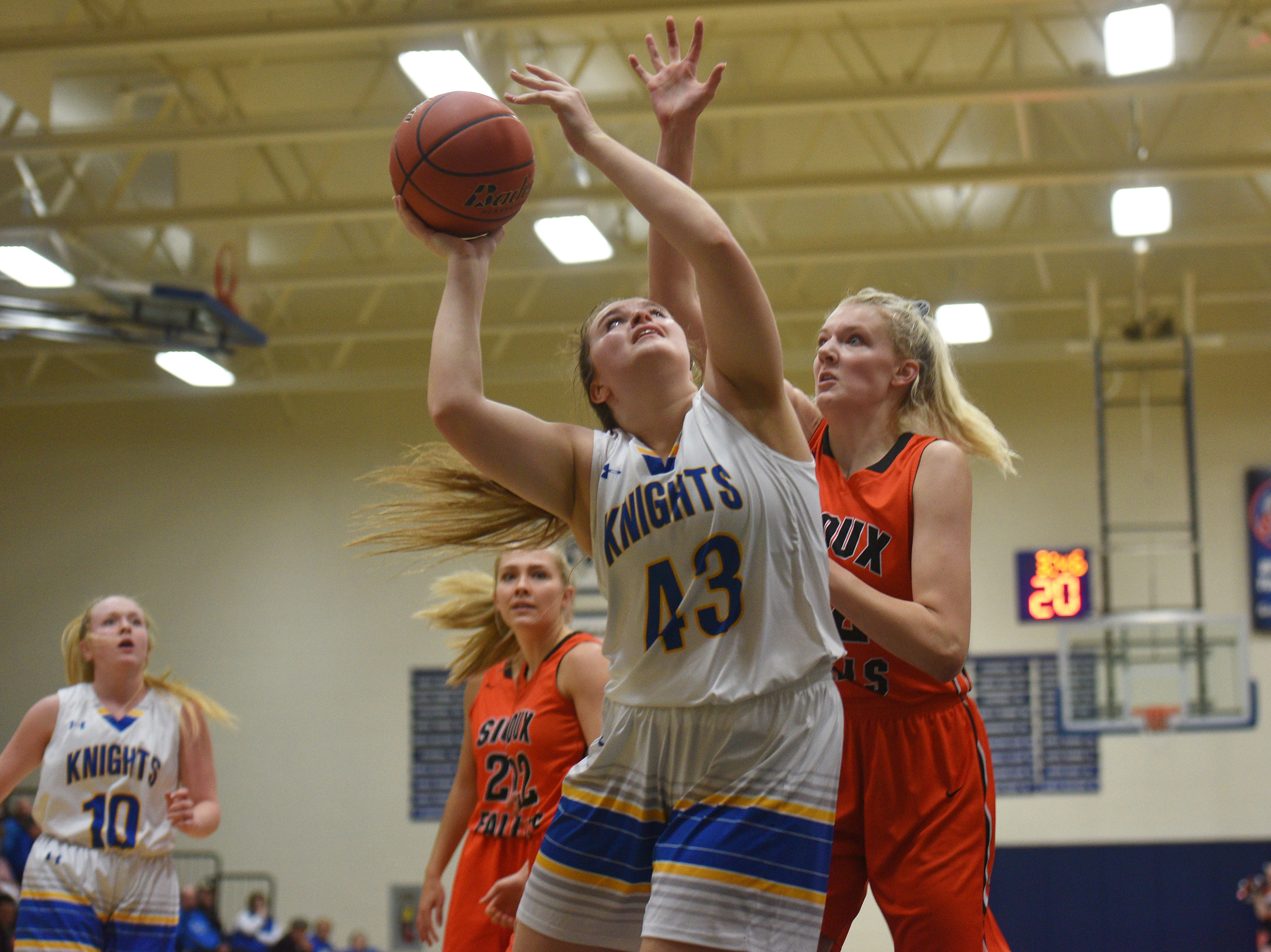 O'Gorman's Courtney Baruth goes against Washington defense during the game Thursday, Jan. 10, at O'Gorman in Sioux Falls.