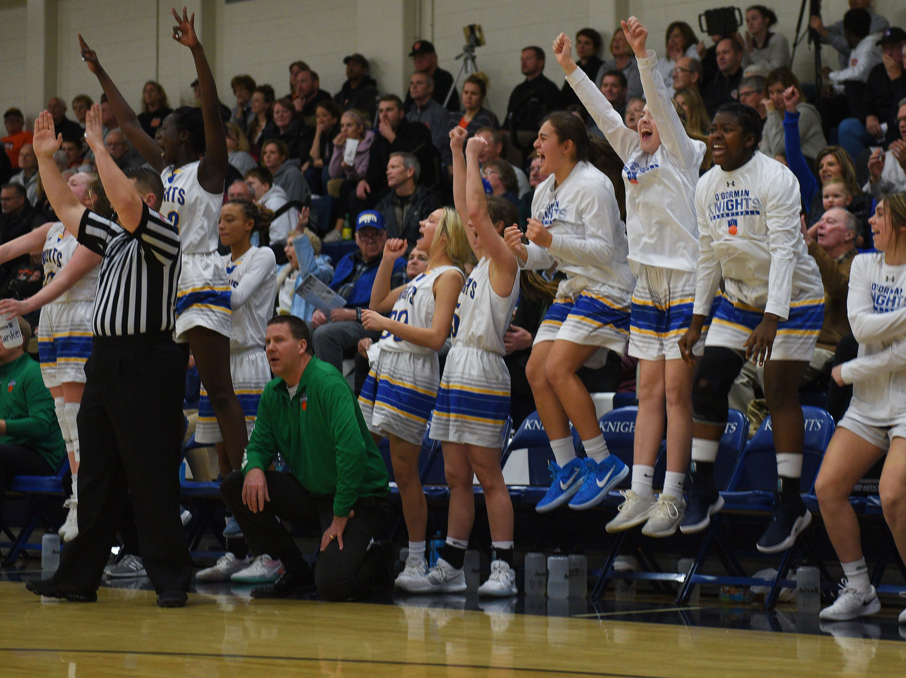 O'Gorman cheers during the game against Washington Thursday, Jan. 10, at O'Gorman in Sioux Falls.