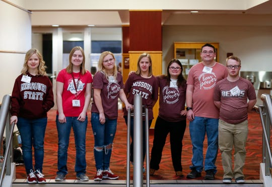 Seven students taking part in Missouri State University's new two-year, five-semester program known as Bear POWER, or Promoting Opportunities for Work, Education, and Resilience for intellectually or developmentally disabled adults.