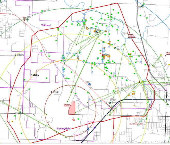 The red line denotes the focus area where DNR is offering free water well testing for TCE, which leaked into groundwater from the former Litton Industries site at the Springfield airport.