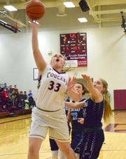 Stuarts Draft's Alexis Bridge puts up a shot against Page County during the first half of their Shenandoah District girls basketball game on Thursday, Jan. 10, 2019, at Stuarts Draft High School in Stuarts Draft, Va.