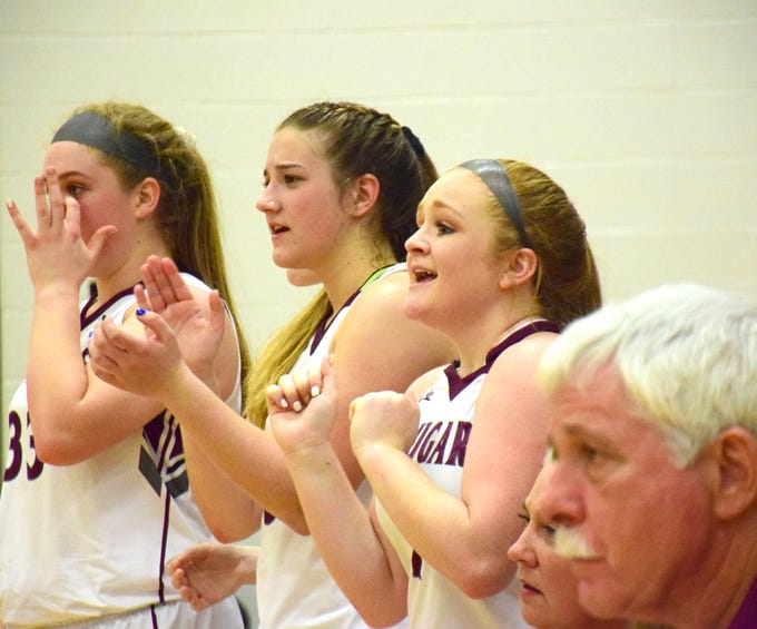 Stuarts Draft players react during the closing moments of the Cougars' 66-48 win over Page County in Shenandoah District girls basketball action on Thursday, Jan. 10, 2019, at Stuarts Draft High School in Stuarts Draft, Va.