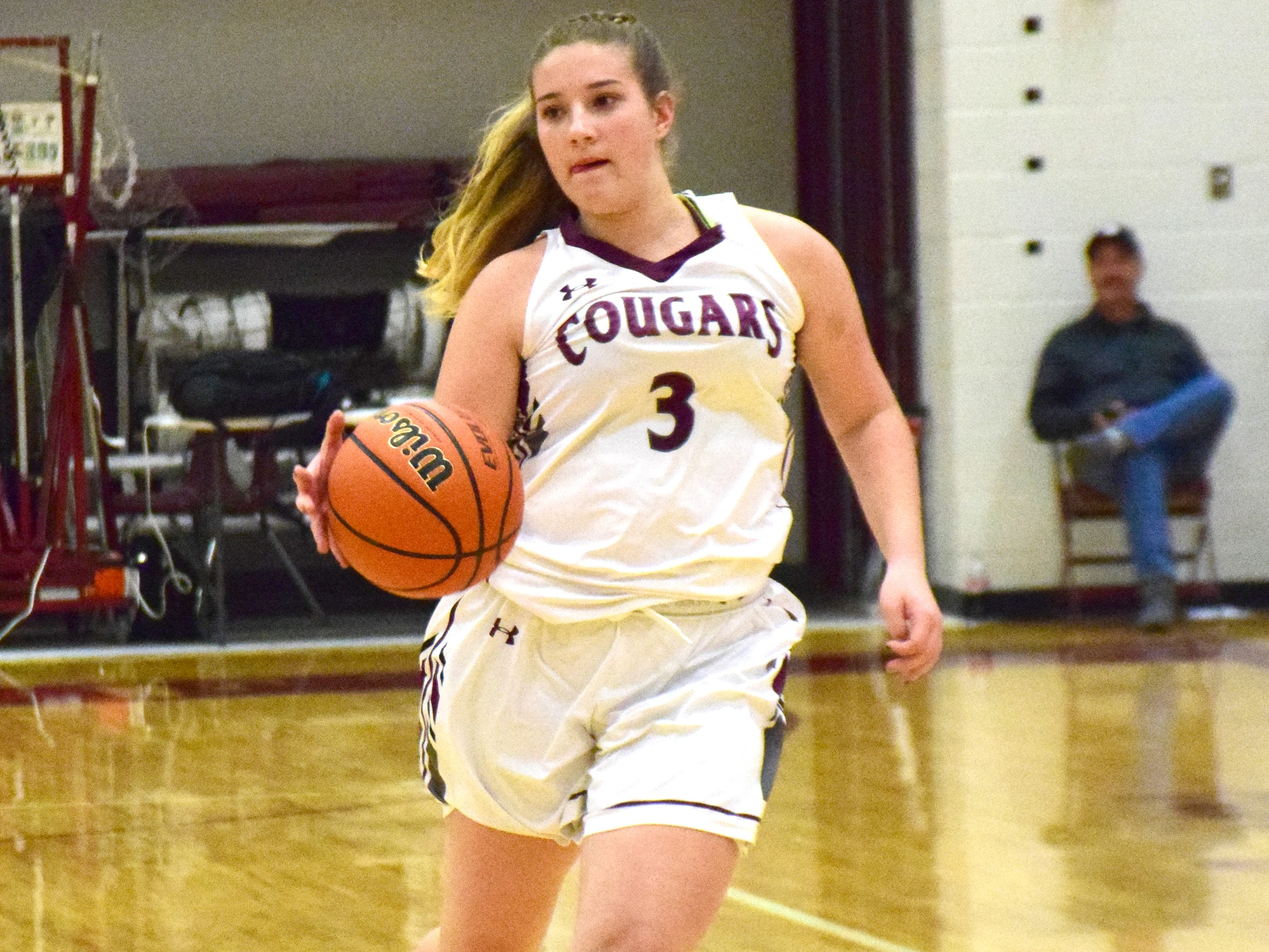 Stuarts Draft's McKinley Fitzgerald brings the ball up against Page County during the first half of their Shenandoah District girls basketball game on Thursday, Jan. 10, 2019, at Stuarts Draft High School in Stuarts Draft, Va.