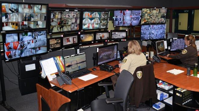 Staff monitor the Sherburne County Jail.