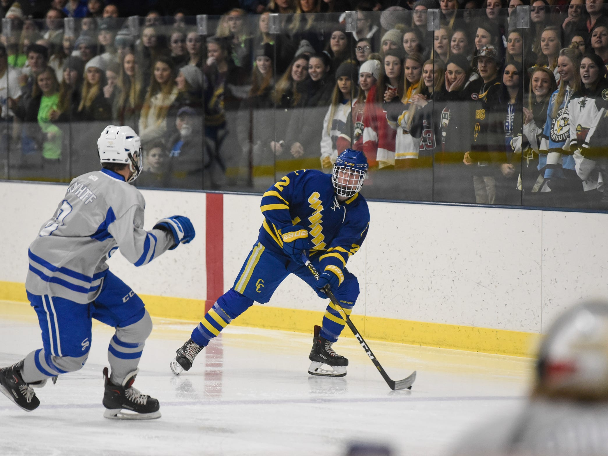 Players take the ice for the Thursday, Jan. 10, game between Sartell adn Cathedral at Bernicks Arena in Sartell.